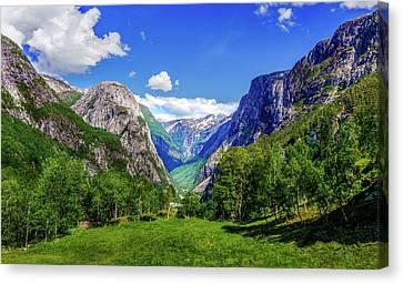 Canvas Print featuring the photograph Sunny Day In Naroydalen Valley by Dmytro Korol