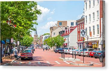 Canvas Print featuring the photograph Sunny Day On Main by Charles Kraus