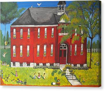 Sunny-day Recess At Westport Public School Canvas Print by Christine Janeway