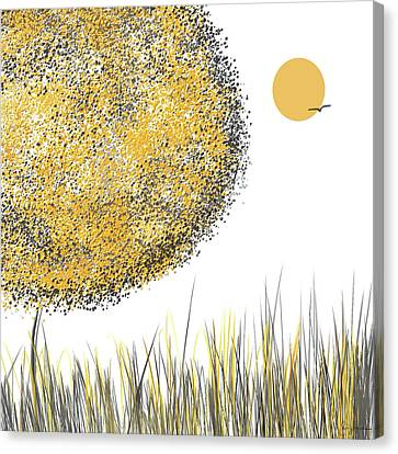 Sunny Day - Yellow And Gray Tree Contemporary Art Canvas Print by Lourry Legarde