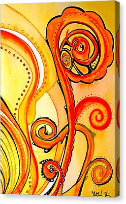 Canvas Print featuring the painting Sunny Flower - Art By Dora Hathazi Mendes by Dora Hathazi Mendes