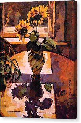 Sunny Flowers In Italian Vase Canvas Print by Tim  Heimdal