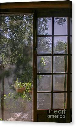Sunny Garden With Door Canvas Print