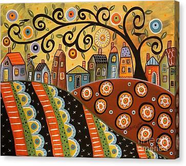 Primitive Art Canvas Print - Sunny Landscape by Karla Gerard