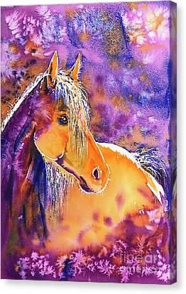 Canvas Print featuring the painting Sunny Mare by Zaira Dzhaubaeva