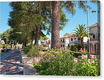 Spanish House Canvas Print - Sunny Promenade In Ronda by Jenny Rainbow