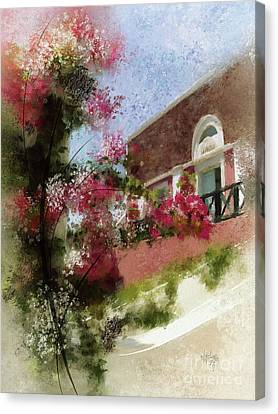 Red Roof Canvas Print - Sunny Santorini by Lois Bryan