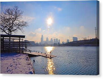Boathouse Row Canvas Print - Sunny Schuylkill River In Winter by Bill Cannon