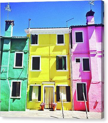 House Canvas Print - Sunny Street by Happy Home Artistry