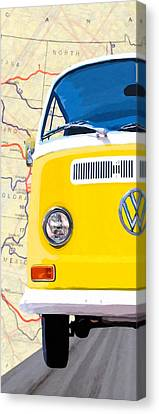 1960 Canvas Print - Sunny Yellow Vw Bus - Left by Mark Tisdale