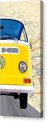 1960 Canvas Print - Sunny Yellow Vw Bus - Right by Mark Tisdale