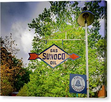 Sunoco Sign On Pole With Public Telephone Canvas Print