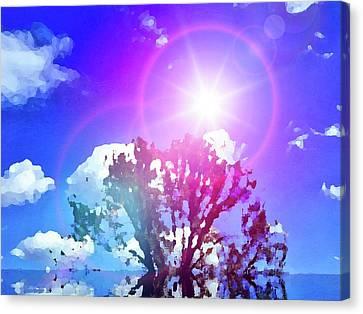 Sun Rays Canvas Print - Sunrays Deep Blue by Zin Shades