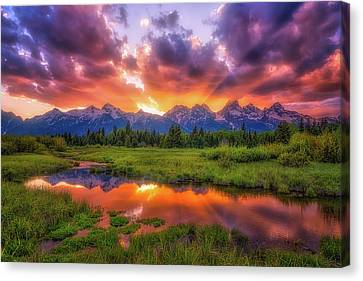 Sunrays Over The Tetons Canvas Print by Darren White