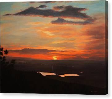 Sunrise Above Boulder Canvas Print