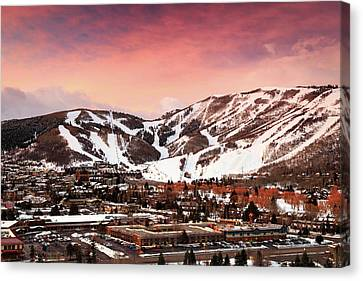 Canvas Print featuring the photograph Sunrise Above Park City Mountain, Utah. by Johnny Adolphson
