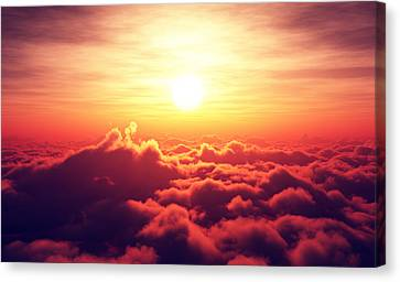 Sunrise Above The Clouds Canvas Print by Johan Swanepoel