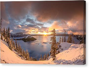 Wizard Island Canvas Print - Sunrise After Summer Snowfall by Greg Nyquist