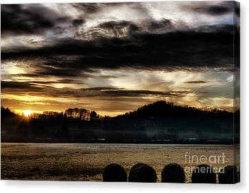 Canvas Print featuring the photograph Sunrise And Hay Bales by Thomas R Fletcher