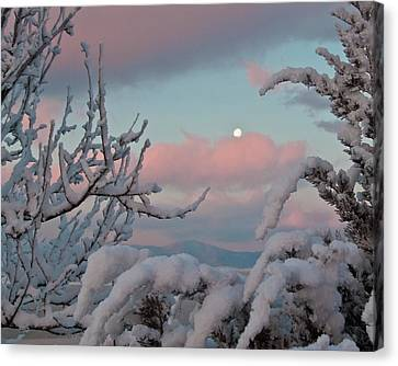 Sunrise And Moon-set Over Lake Boyd Canvas Print