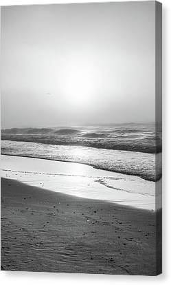Canvas Print featuring the photograph Sunrise At Beach Black And White  by John McGraw