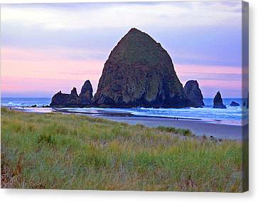 Sunrise At Cannon Beach  Haystack Rock And The Needles Canvas Print