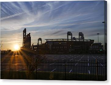 Sunrise At Citizens Bank Park - Philidelphia Canvas Print by Bill Cannon