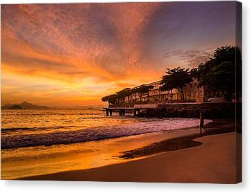 Sunrise At Copacabana Beach Rio De Janeiro Canvas Print by Celso Bressan