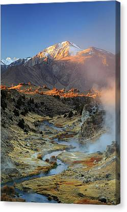 Canvas Print featuring the photograph Sunrise At Hot Creek. by Johnny Adolphson