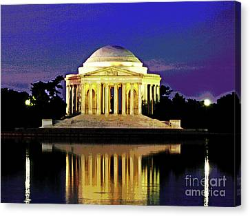 Sunrise At Jefferson Memorial Canvas Print