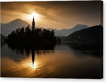 Sunrise At Lake Bled Canvas Print by Ian Middleton