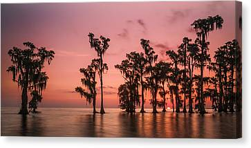 Sunrise At Lake Maurepas Canvas Print by Andy Crawford