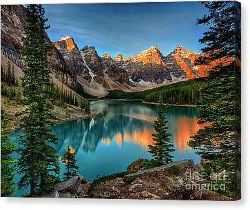 Sunrise At Moraine Lake - Banff National Park Canvas Print by Yefim Bam