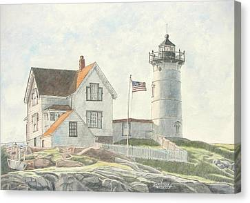 Sunrise At Nubble Light Canvas Print by Dominic White