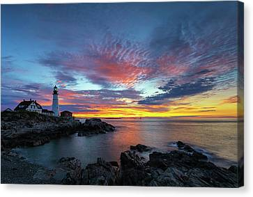 Sunrise At Portland Head Light Canvas Print