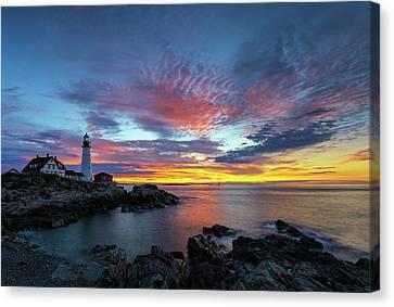 Sunrise At Portland Head Light Canvas Print