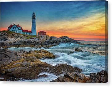 Sunrise At Portland Head Light Canvas Print by Rick Berk