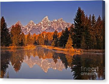 Sunrise At Schwabacher Landing  Canvas Print by Sam Antonio Photography