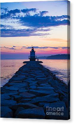 New England Lighthouse Canvas Print - Sunrise At Spring Point Light Maine by Diane Diederich