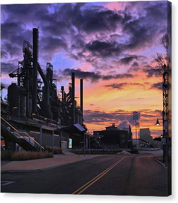 Canvas Print featuring the photograph Sunrise At Steelstacks by DJ Florek