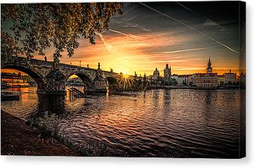 Sunrise At The Charles Bridge Canvas Print
