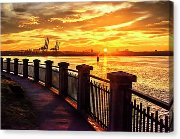 Canvas Print featuring the photograph Sunrise At The Harbor by John Poon