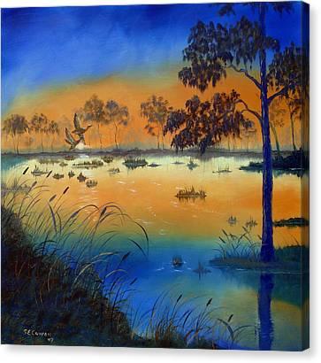 Sunrise At The Lake Canvas Print by SueEllen Cowan