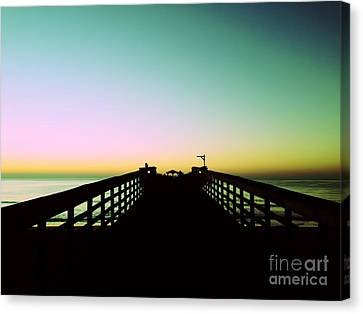 Sunrise At The Myrtle Beach State Park Pier In South Carolina Us Canvas Print