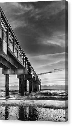 Sunrise At The Pier-bw Canvas Print by Marvin Spates
