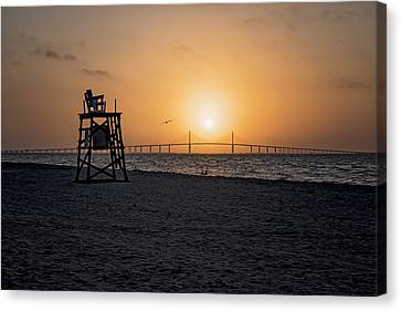Sunrise At The Skyway Bridge Canvas Print