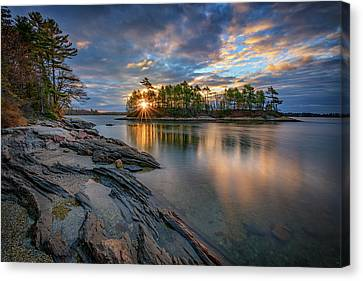 Sunrise At Wolfe's Neck Woods Canvas Print by Rick Berk