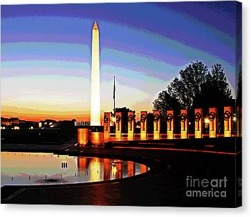 Sunrise At Wwii Memorial Canvas Print