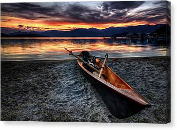Sunrise Boat Canvas Print by Matt Hanson