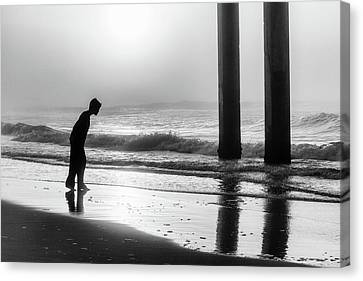 Canvas Print featuring the photograph Sunrise Boy In Foggy Beach by John McGraw